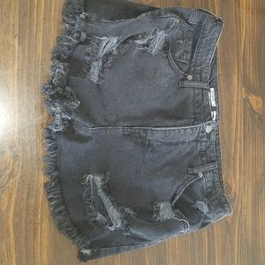 High rise black distressed shorts